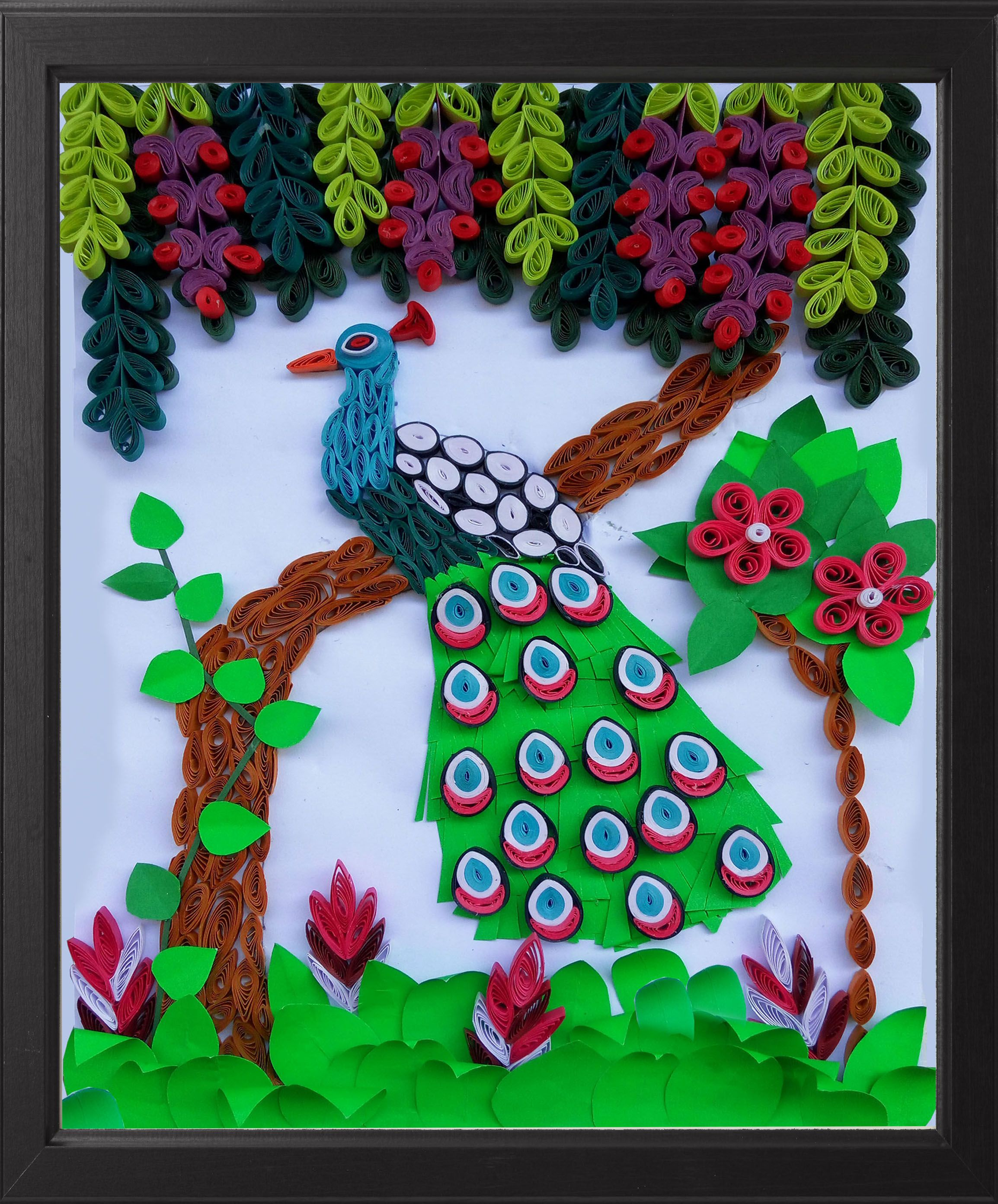 Paper Quilling Peacock Wall Art in a frame Peacock Wall