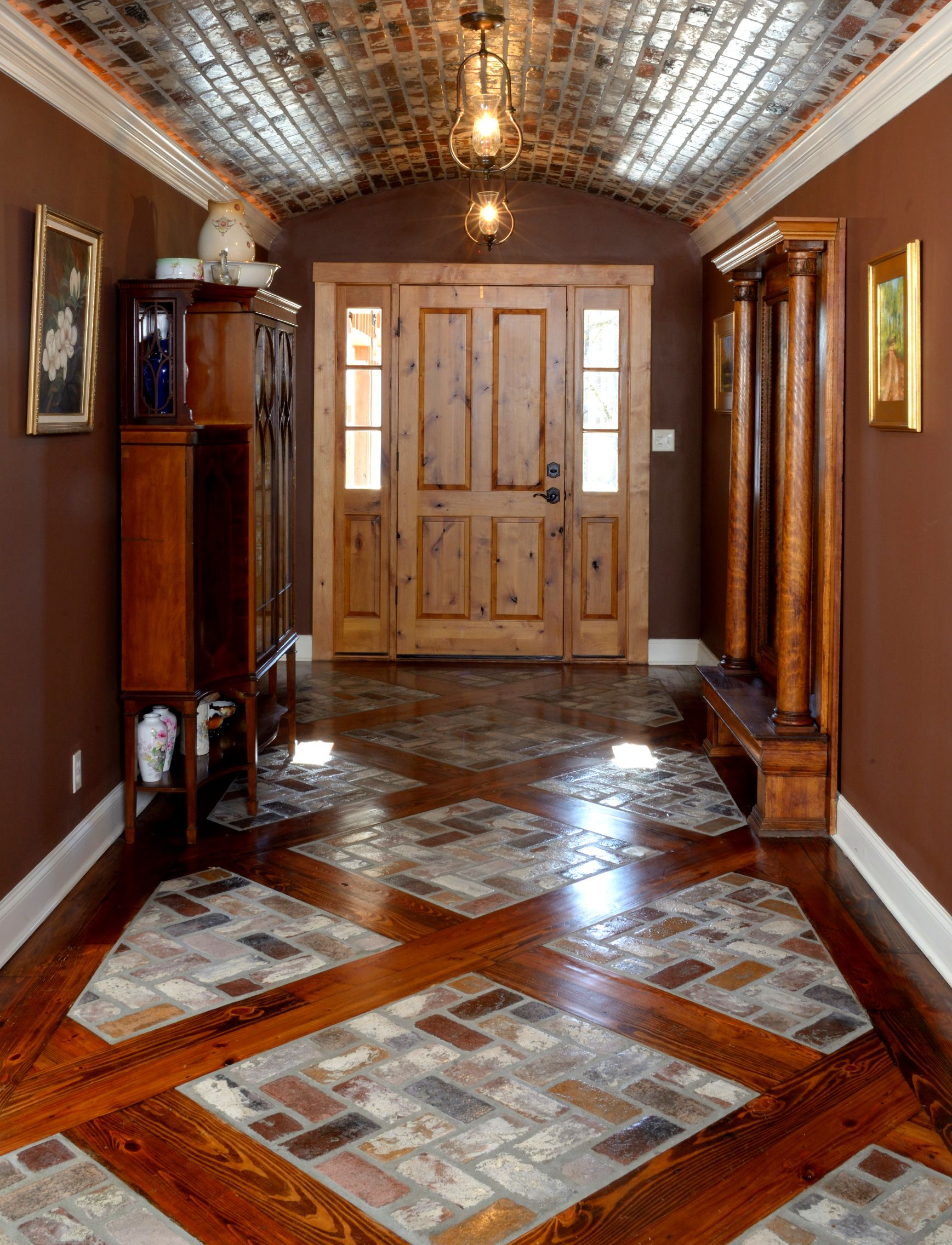 Unique Ceiling Design With Portstone Thin Brick Rose Hill Color And Wood Inlay Floor With Portstone Thin In 2020 Pretty House Home Interior Design Small House Storage