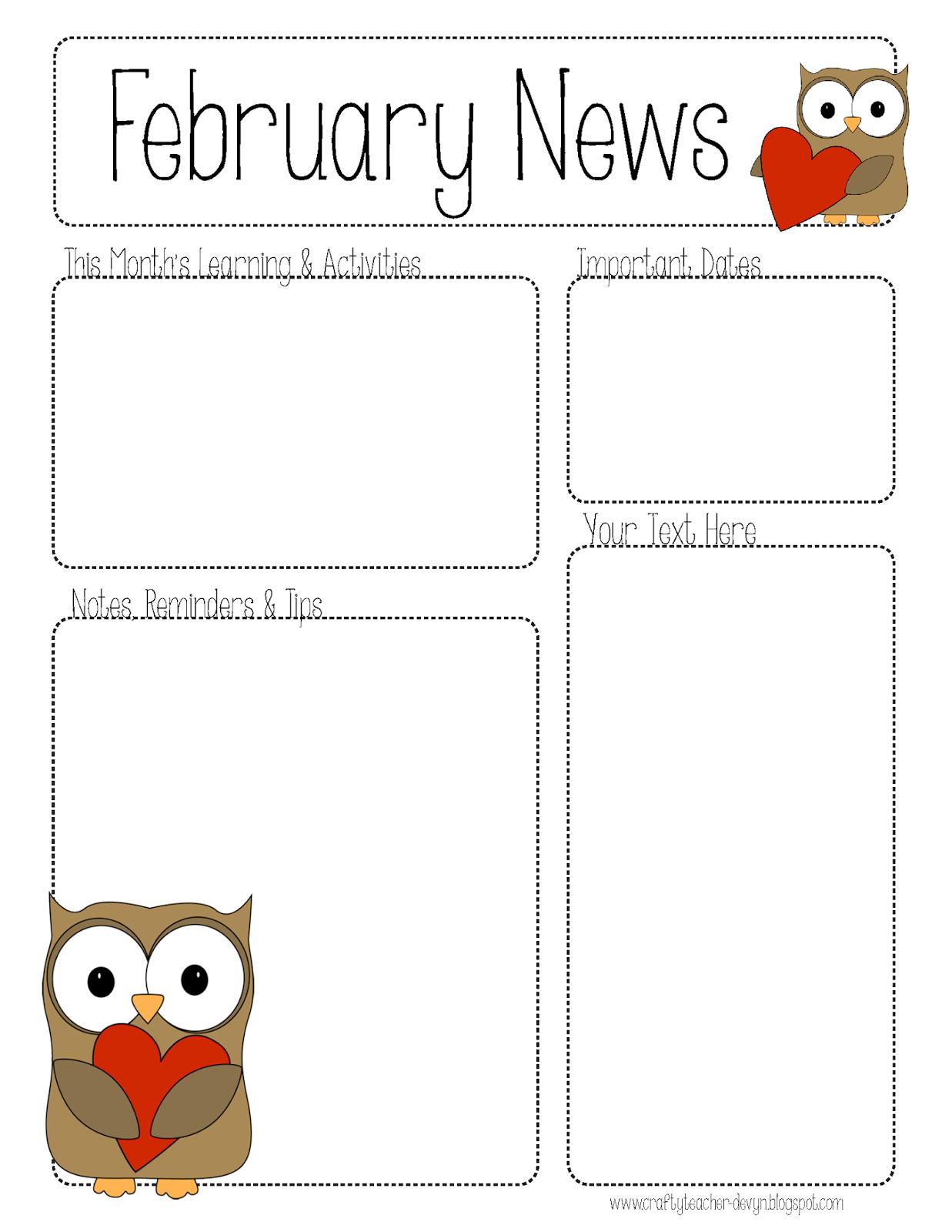 2 February Newsletters Preschool Newsletter Templates February Newsletter Template Preschool Newsletter