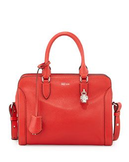 V28RP Alexander McQueen Padlock Small Zip-Around Tote Bag, Red