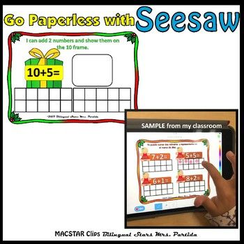 Seesaw Addition 10-20 Using a Ten Frame PNG Templates English - ten frame template
