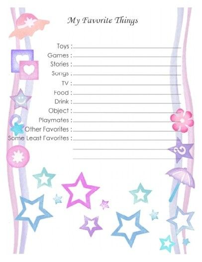"Free Printable Baby Book Page, ""Favorite Things 1"" 