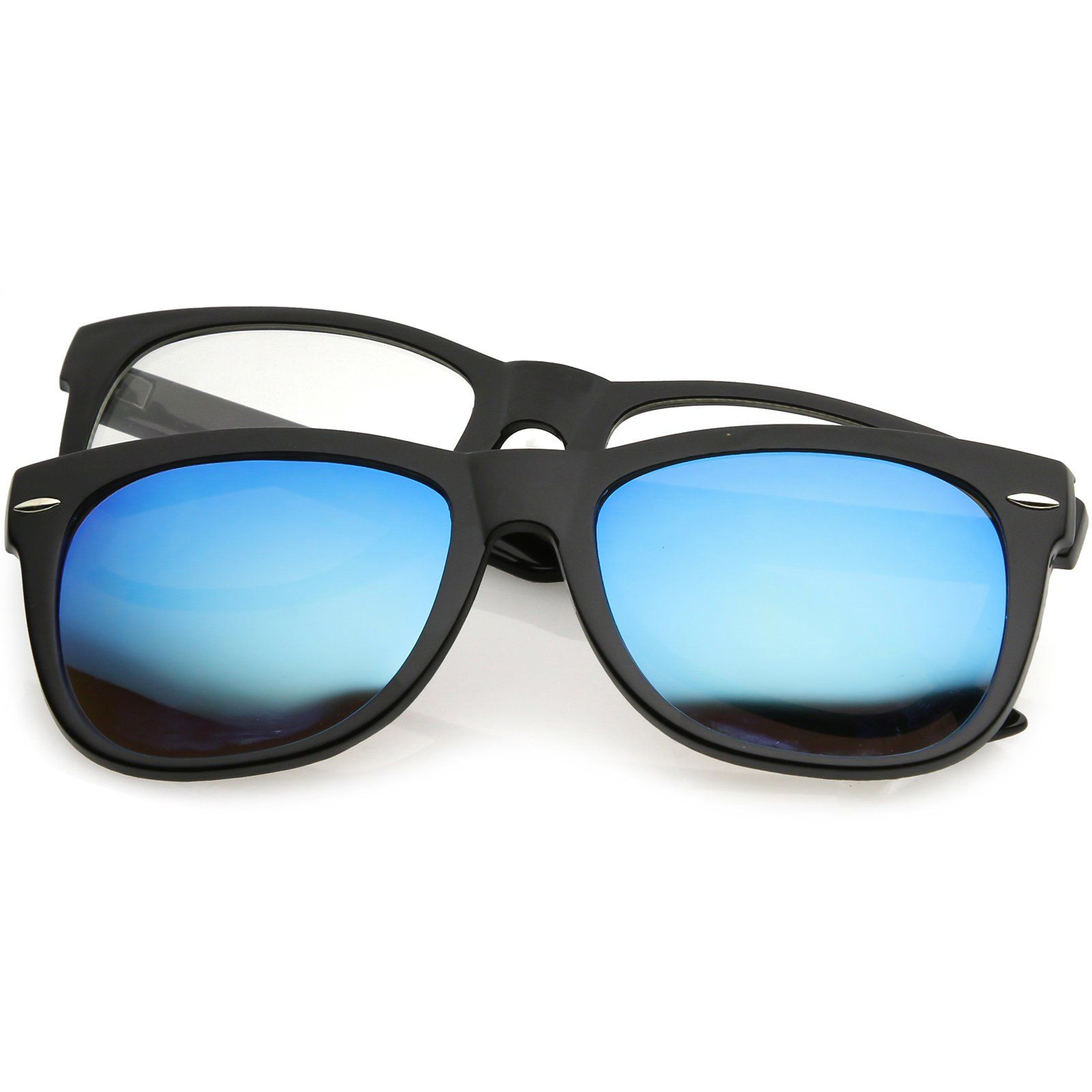Premium Magnetic Clip-On Horn Rimmed Sunglasses Mirrored And Clear ...