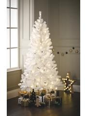 George Home 6ft White Pre Lit Led Christmas Tree Warm