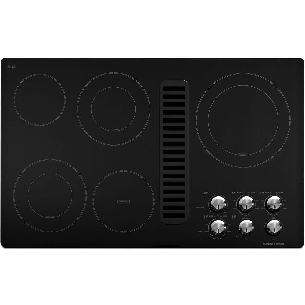 Kitchenaid 36 In Downdraft Vent Ceramic Glass Electric Cooktop In Black With 5 Elements Including Double Ring Elements Kecd867xbl Electric Cooktop Island Cooktop Home Depot