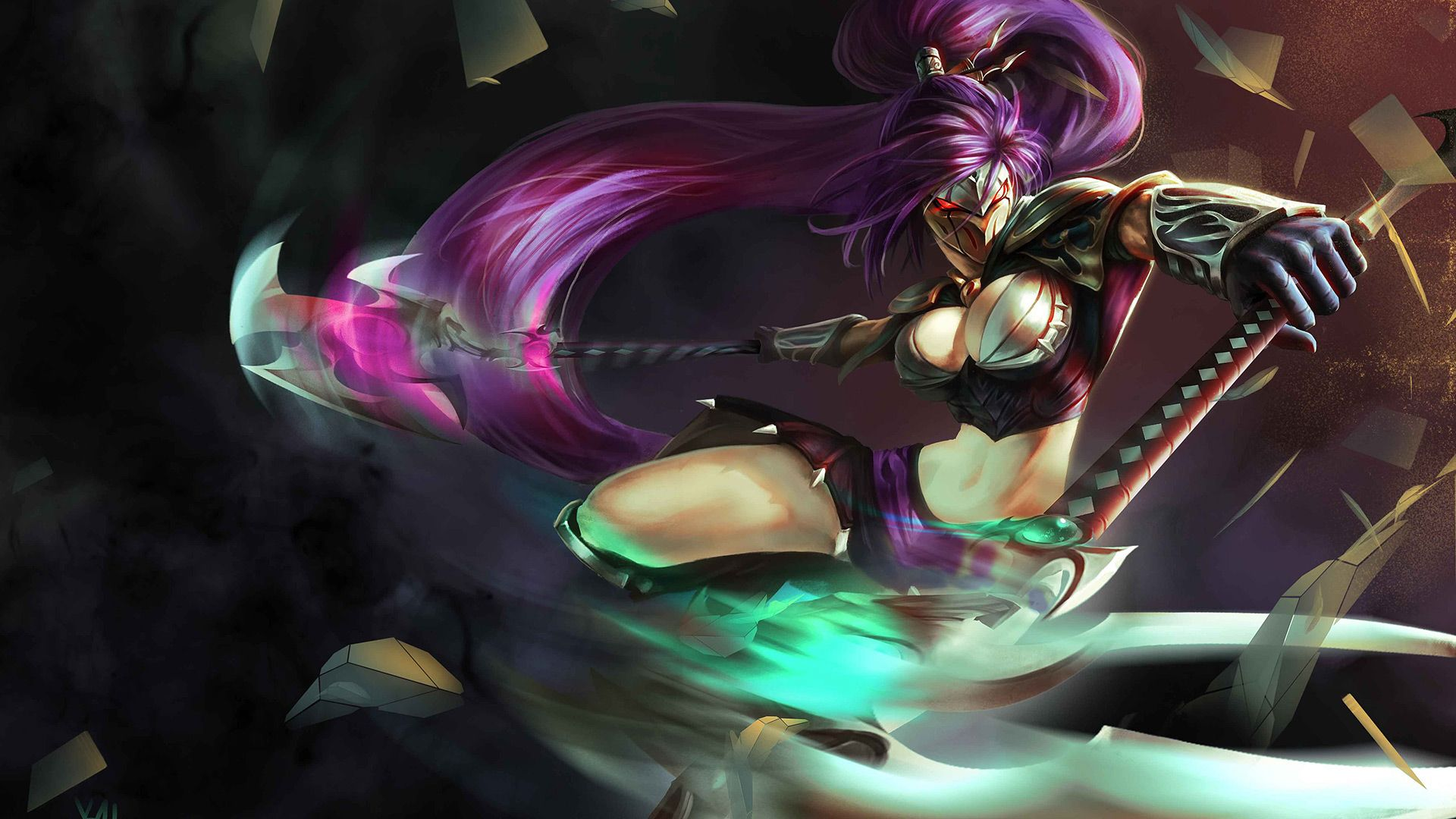 Download Wallpaper Fanart Trickster Akali Mask Skin Full Hd On