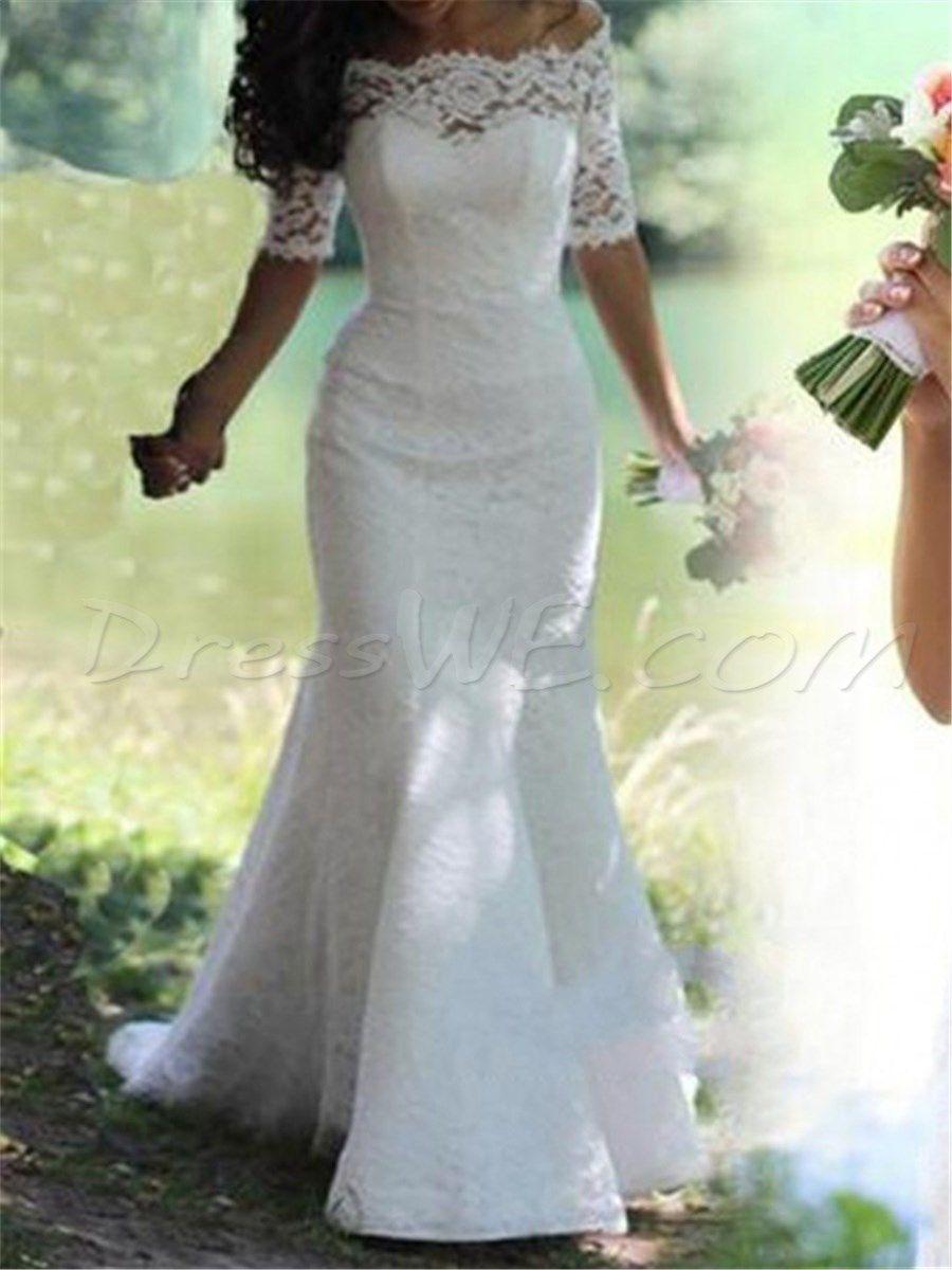 Modern half sleeves offtheshoulder lace mermaid wedding dress in