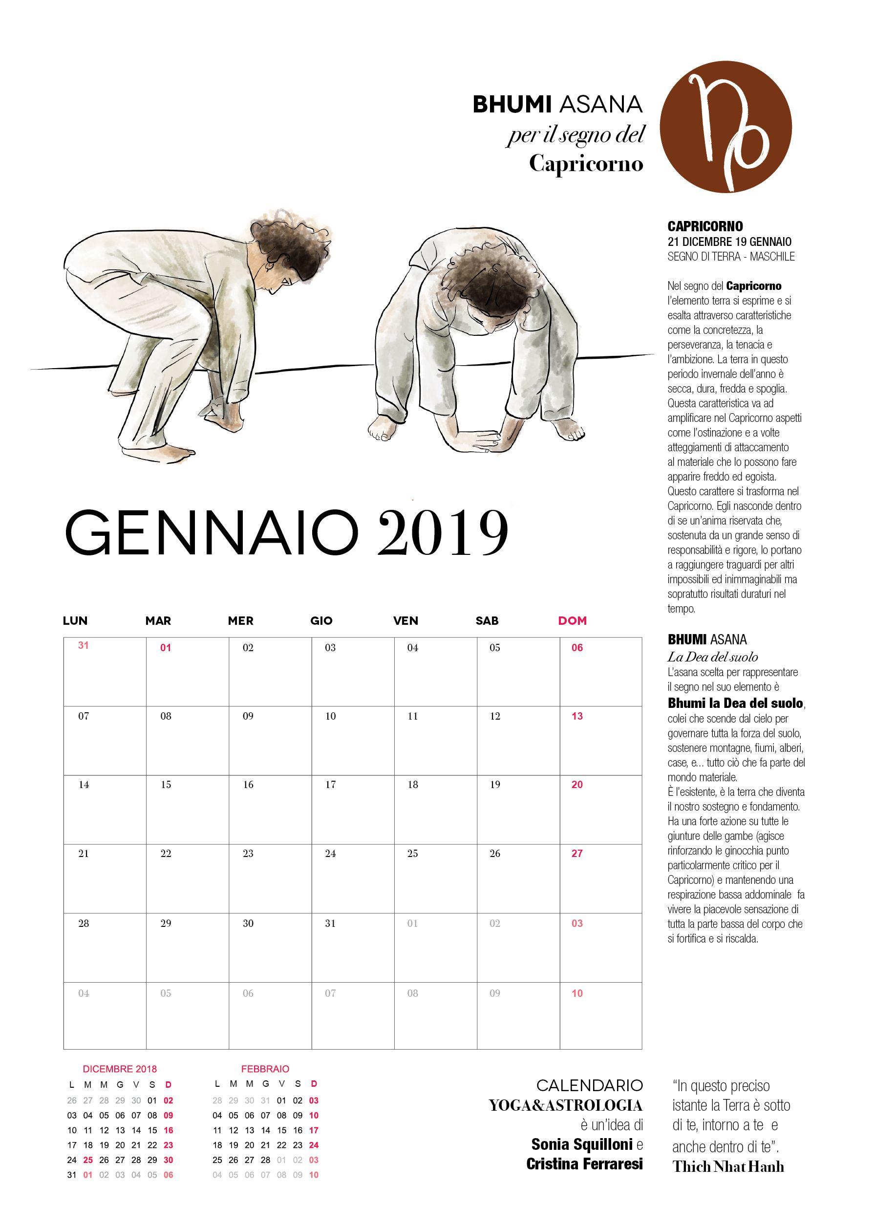 Calendario Da Parete Grande.Calendar 2019 Yoga Astrology Portfolio Sonia Squilloni