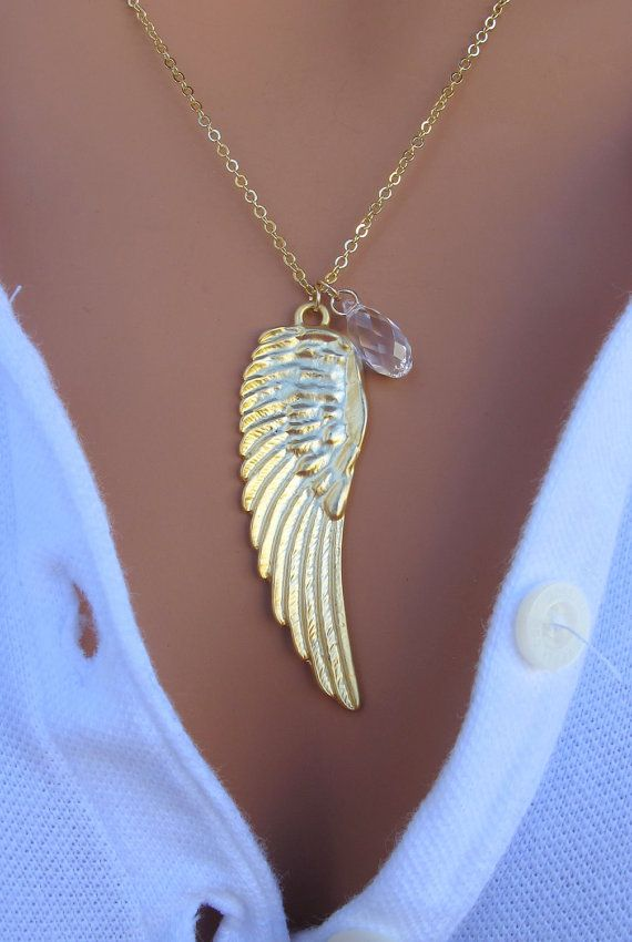 White Swan  Gold Angel Wing 14k Gold Fill by RedEnvelopeGifts, $34.00