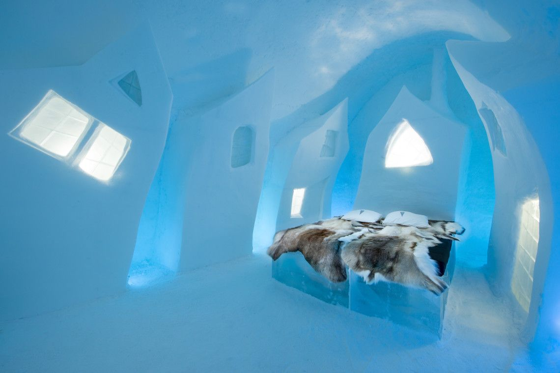 Daily Life: Here you can see a picture of one of the suits in the ice hotel in sweden. The room is made entirely out of glass along with the bed. You can also see the reindeer bed sheets. This is known as a huge tourist site in sweden.