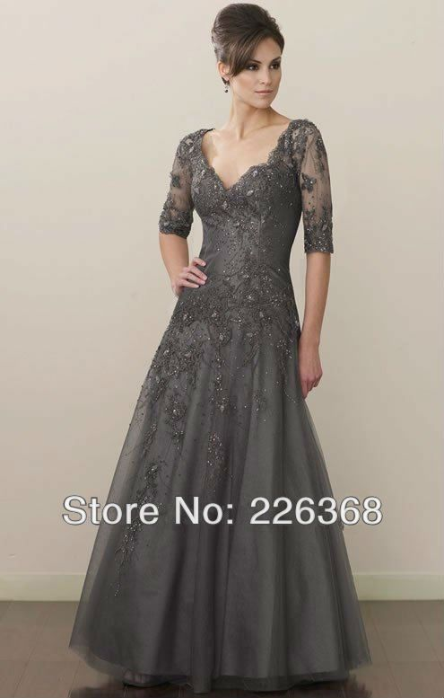 Newest V-Neck Tulle Full-Length A-Line Gray Tall Lace Appliques ...