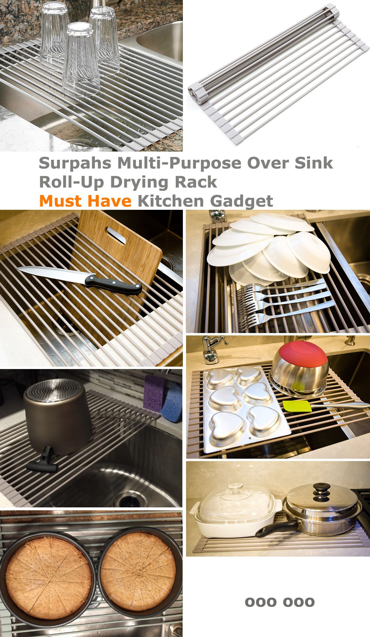 Multipurpose drying rack. Must have kitchen gadgets for every kitchen.  Air dry hand washed dishes, bowls, plates, pots, fry pans, bakeware, kitchen utensils. Dry off fruits and vegetables. Foldable, stackable, roll-up for space saving storage #kitchenutensils