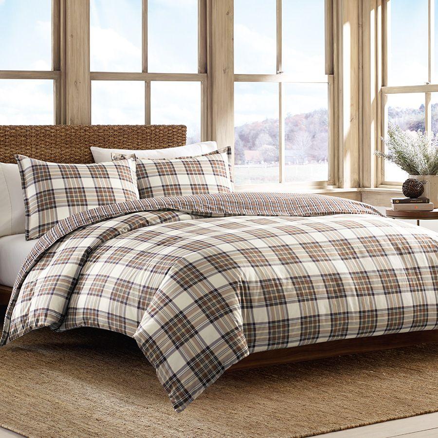 Eddie Bauer Edgewood Plaid Khaki Duvet Set Beddingstyle