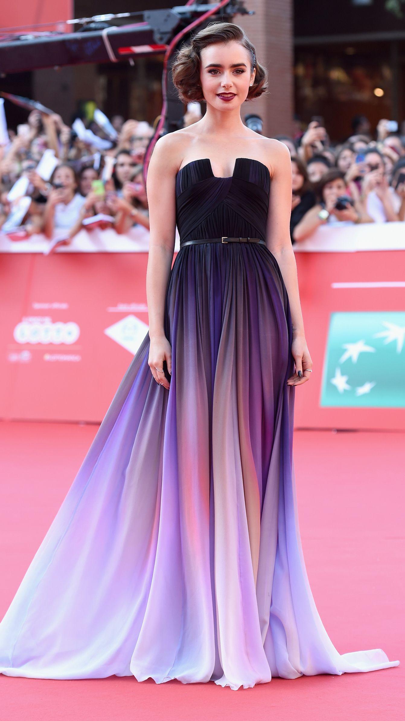 Lily Collins\' 10 best looks | Vestiditos, Vestidos de baile largos y ...