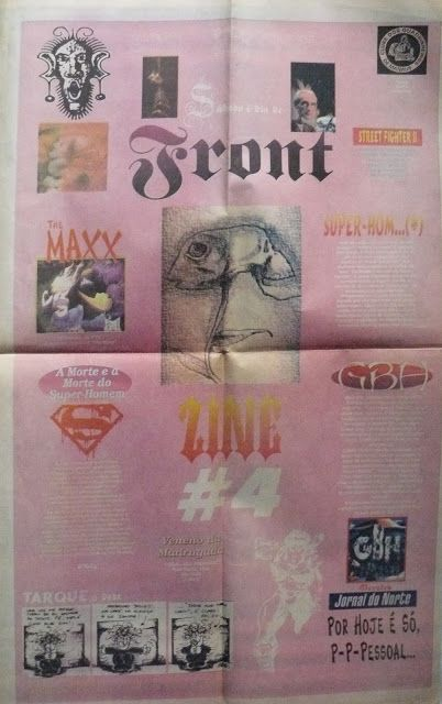 Front Zine Nº 04 publicado pelo Clube dos Quadrinheiros de Manaus no extinto Jornal do Norte em 12 de fevereiro de 1996 com autoria de Fábio Prestes, João Vicente, Mário Orestes Silva e Daniel Dante.