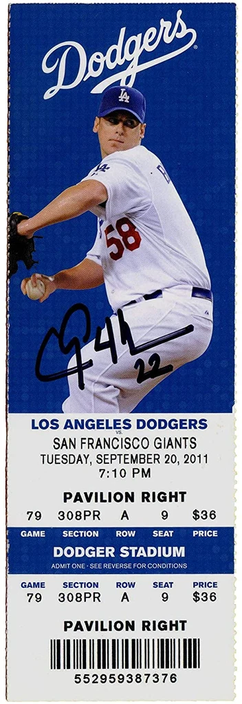 Clayton Kershaw Los Angeles Dodgers Signed Autographed Game Ticket Fir Sports Autographs Com Dodgers Sign Los Angeles Dodgers Game Tickets