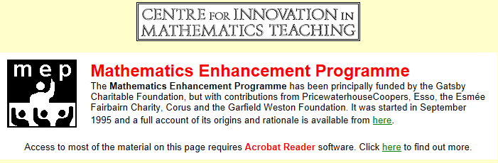 Mathematics Enhancement Programme- free K-12 math curriculum, available at http://www.cimt.plymouth.ac.uk/projects/mep/default.htm and http://www.staidenshomeschool.com/files/freemathscurriculumprek.htm