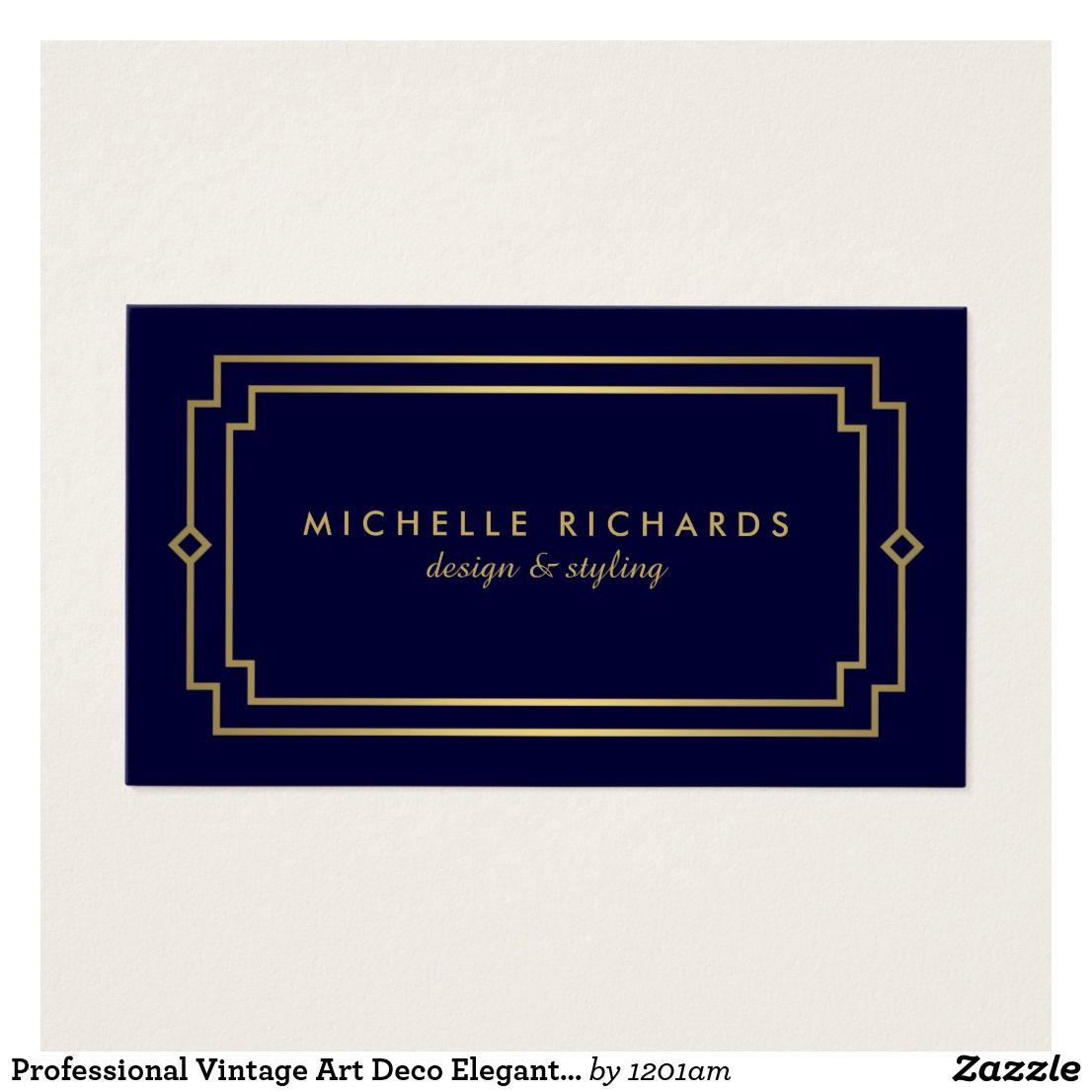 Professional Vintage Art Deco Elegant Gold Navy Business Card