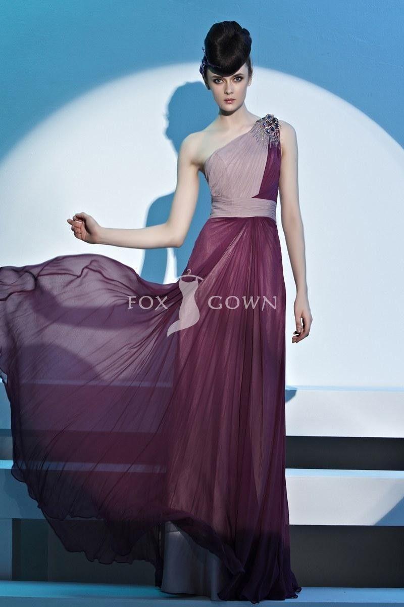 Zwei Ton Scheide Stock Länge Strass Perlen One-Schulter geraffte Prom Kleid $324.48 formale Kleider