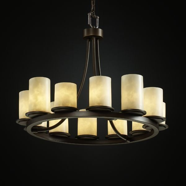 Justice Design Group Cld 8768 10 Dbrz Dark Bronze Dakota 12 Light Short Ring Chandelier From The Clouds C Pillar Candle Chandelier Candle Chandelier Chandelier