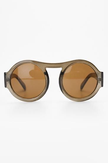 'Bunny' Retro Round High Bridge Sunglasses - Brown - 1186-3