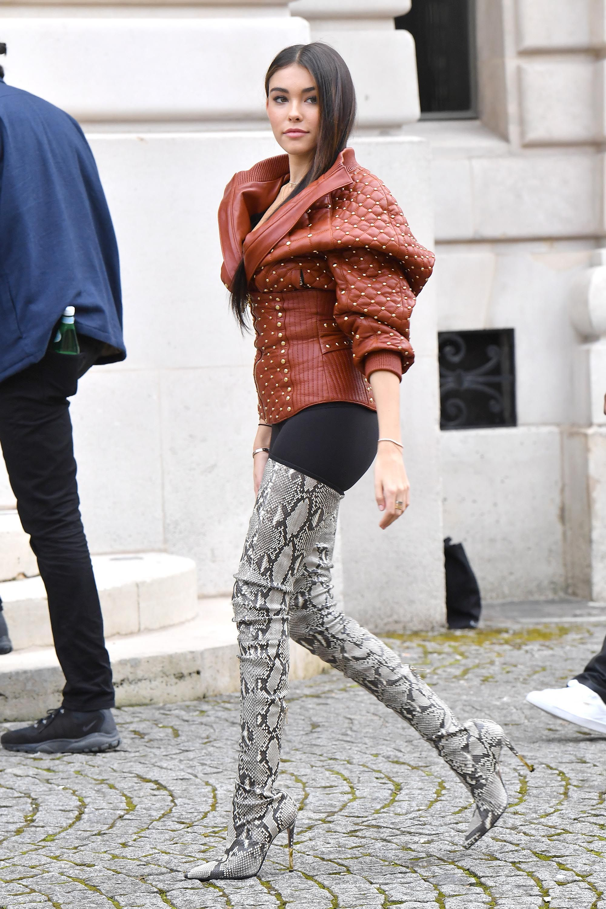 271a8363bac1 Madison Beer attends the Balmain show Crotch Boots