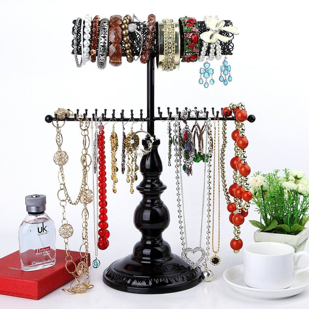Hanging Jewelry Organizer Black Stand Necklace Holder Tree Storage