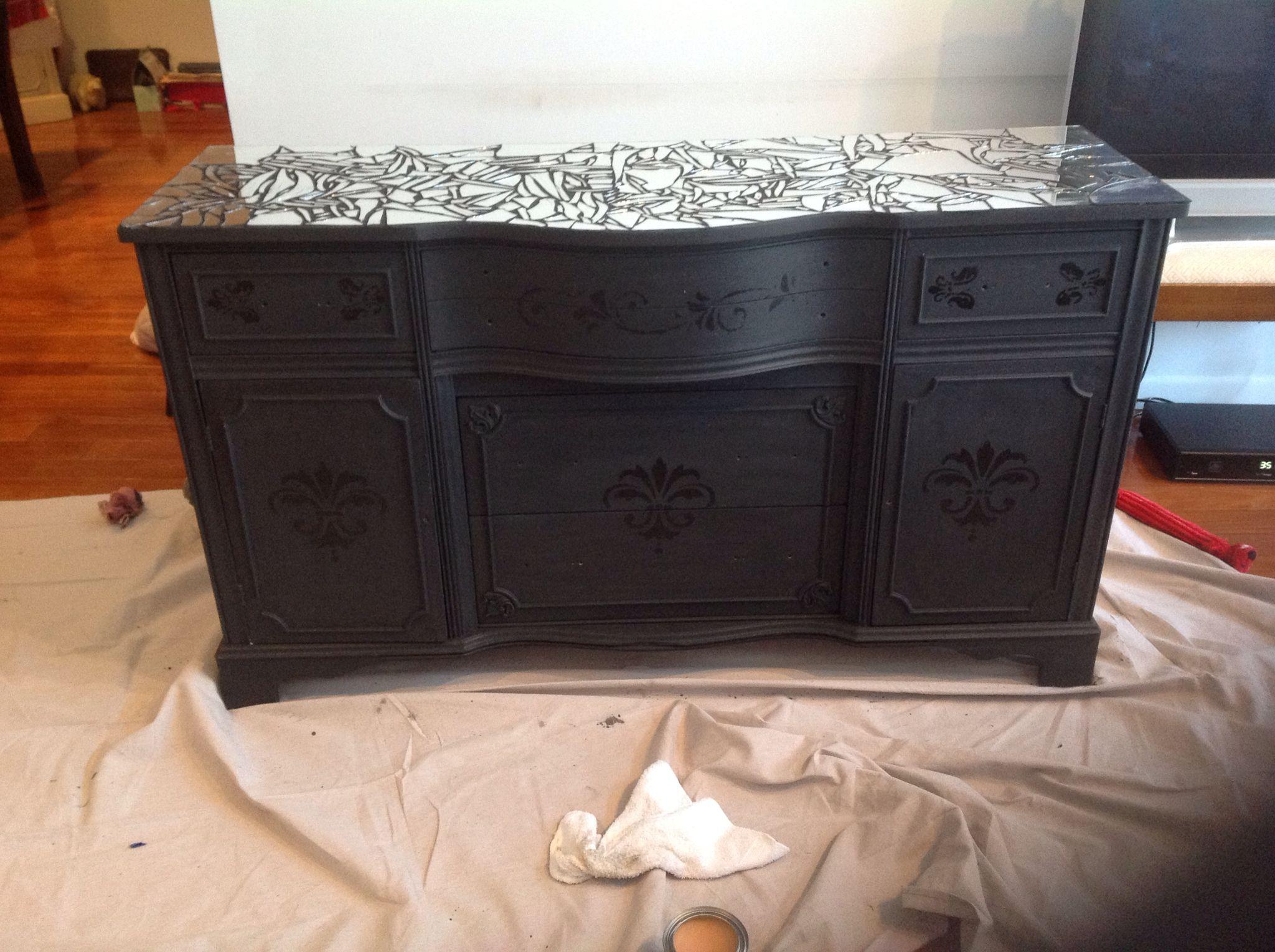 Black chalk painted dresser cracked mirror tiled top