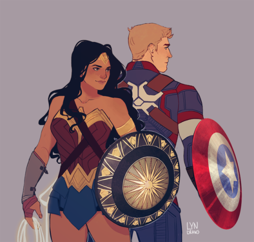 Lyndraws Had To Draw My Favorite Superheroes Together Guess I Have A Type Wonder Woman Marvel Marvel Dc Comics
