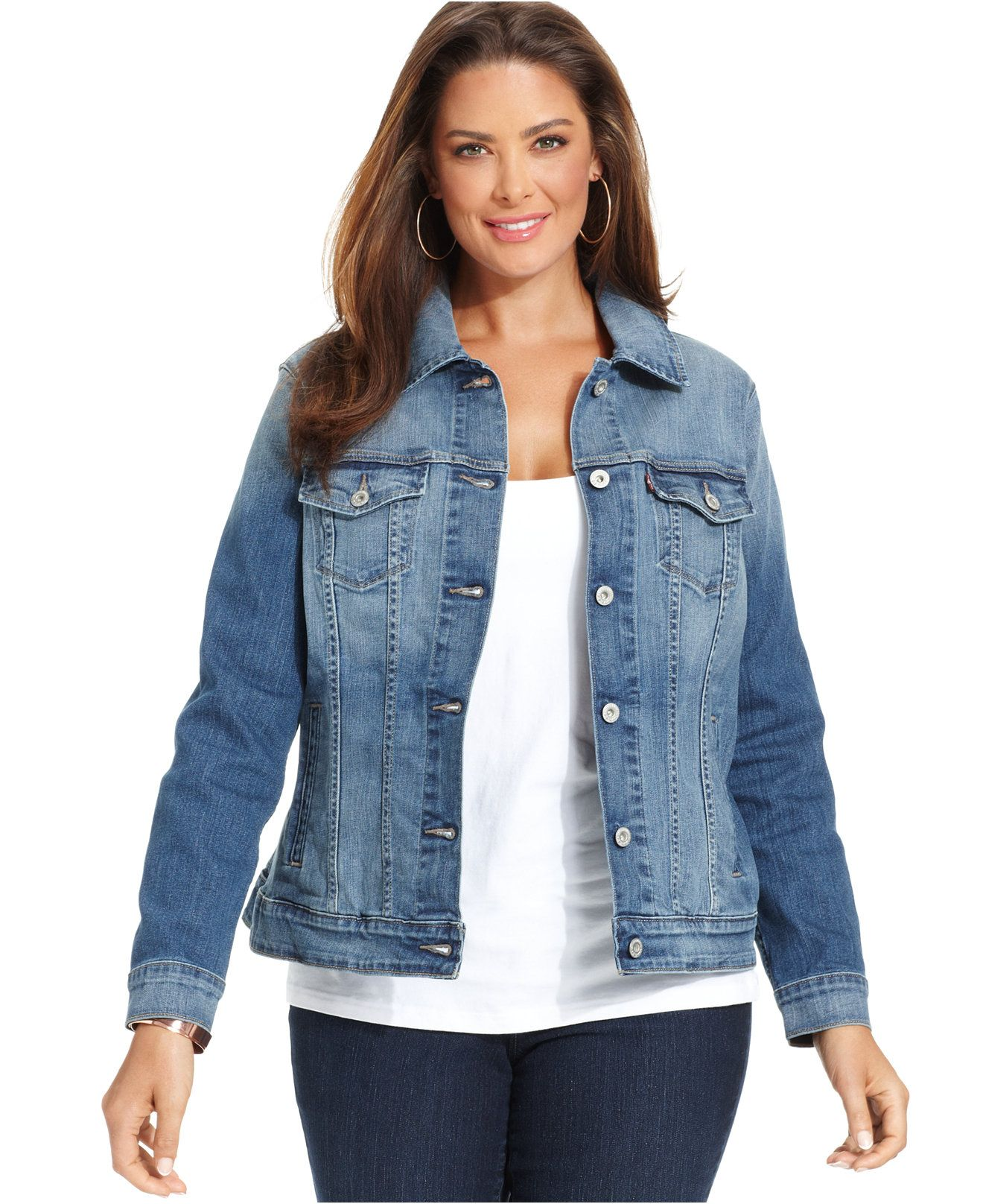 Levi's® Plus Size Denim Jacket Saddle Blue Wash - Jackets
