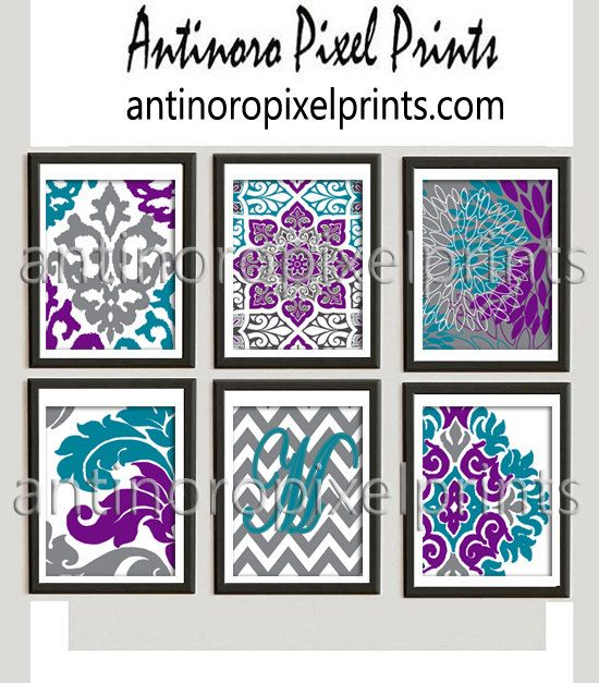 Teal Turquoise Purple Grey White Ikat Pictures Set Of 6 Wall Art Prints Custom Colors Sizes Available Unfr Purple Teal Turquoise And Purple White Wall Art
