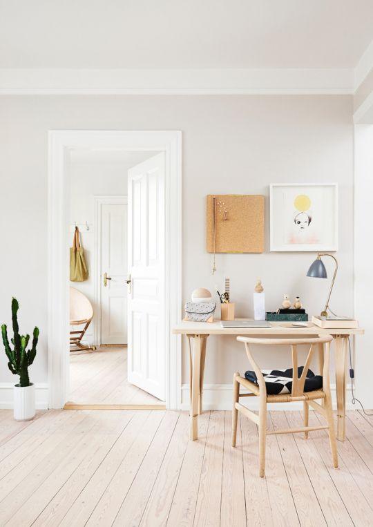 Home office with a Gräshoppa table lamp  by Gubi via Decor8.