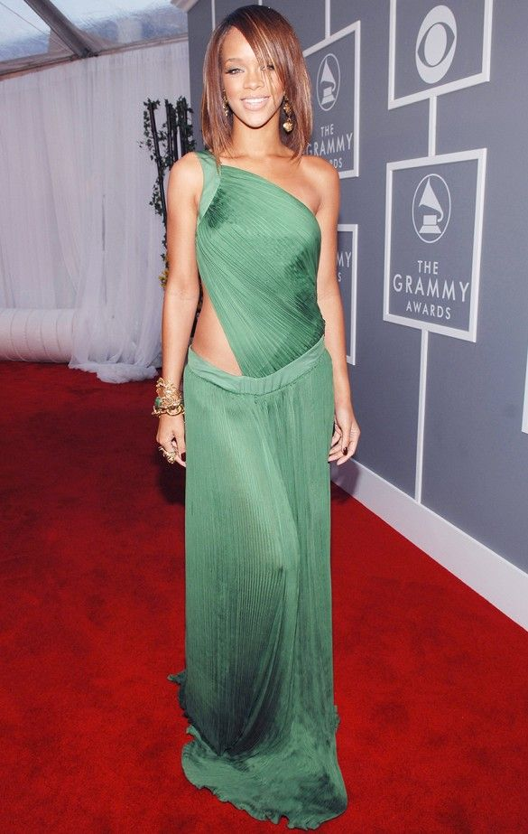 Rihanna in a Roberto Cavalli gown at The 49th Annual Grammy Awards