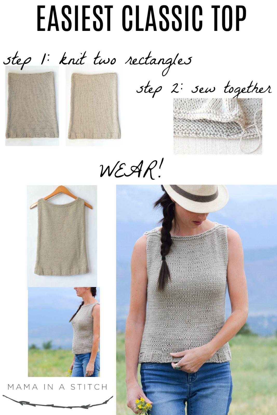 Easy Knit Tank Top Pattern | Camisetas