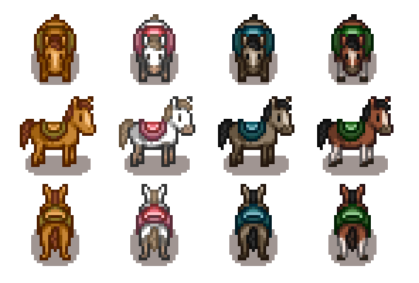 Improved Horses 4 Colors At Stardew Valley Nexus Mods And Community Stardew Valley Stardew Valley Farms Farm Layout