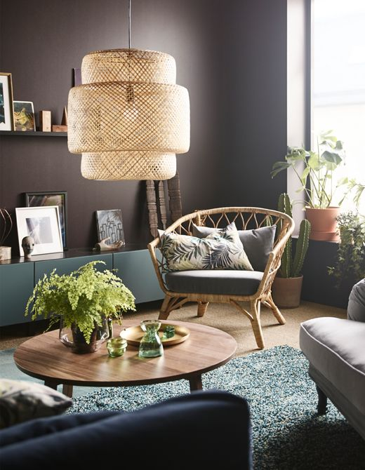 IKEA STOCKHOLM Rattan Chair, STOCKSUND Armchair In Grey/black/wood, VINDUM  High Pile Rug In Blue/green.