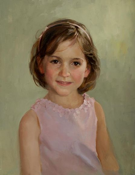 Classic head & shoulders oil portrait of a girl by a Portraits, Inc. artist