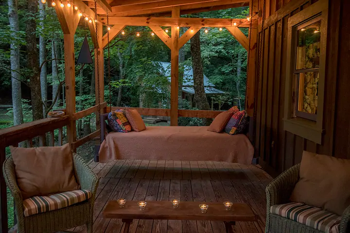 The Cabin At Little Moon Falls Cabins For Rent In Saluda North Carolina United States In 2021 Home Decor Outdoor Bed Outdoor Decor
