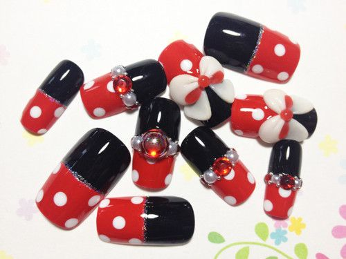 Red Dotto Nails with Ribbons   MiCHi MALL