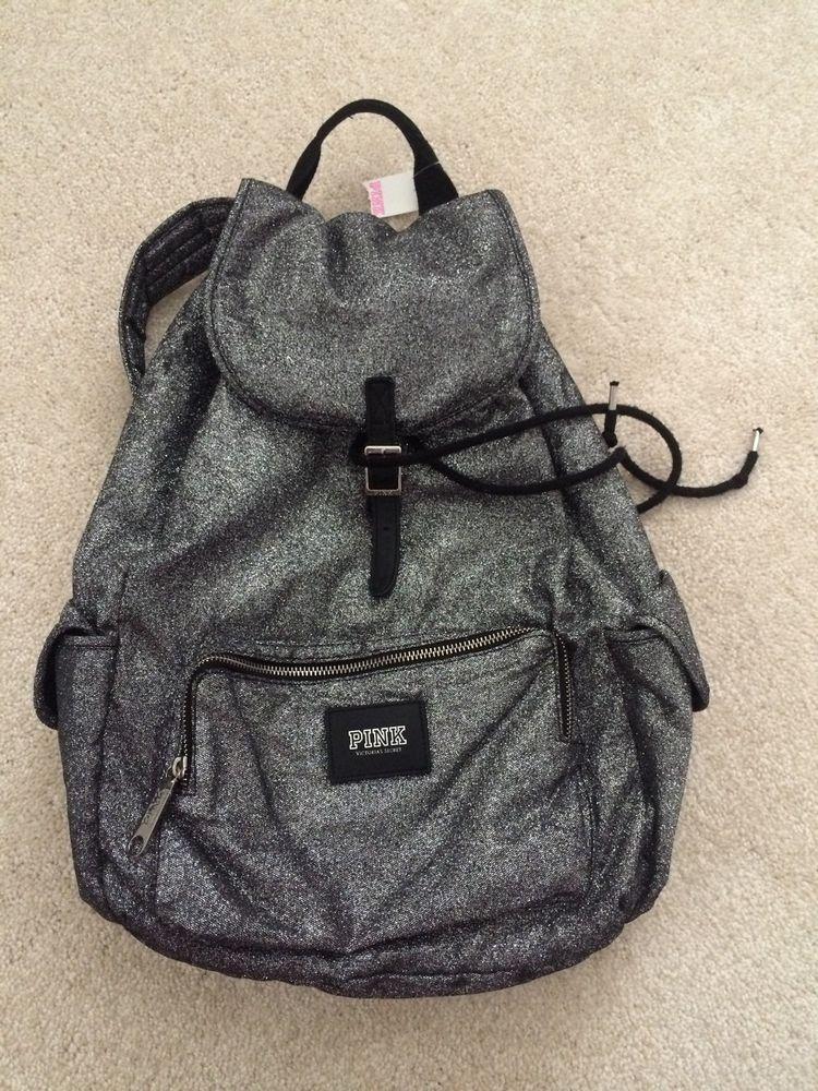 VICTORIA SECRET PINK GLITTER BLING BACK PACK LARGE FULL SIZE LOGO NWT No Reserve #VictoriaSecret #Backpack