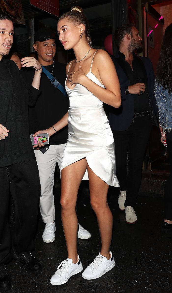 c82ac9e1ec305 How to Score Hailey Baldwin's Little White Dress for $48 via @WhoWhatWear