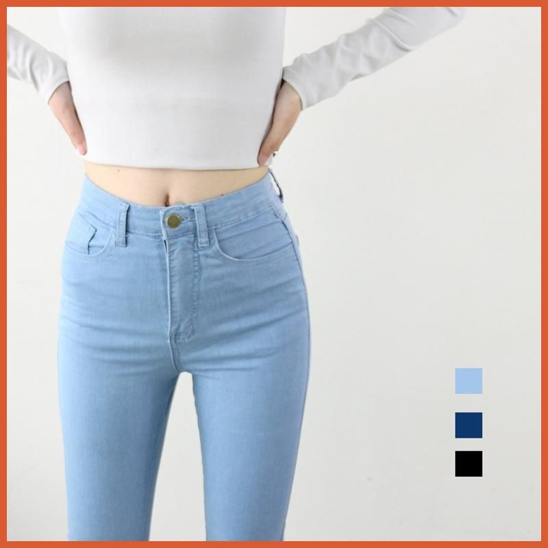 9822ac65eb High Waist High Elastic Jeans Women Hot Sale American Style Skinny Pencil  Denim Pants Fashion Pantalones