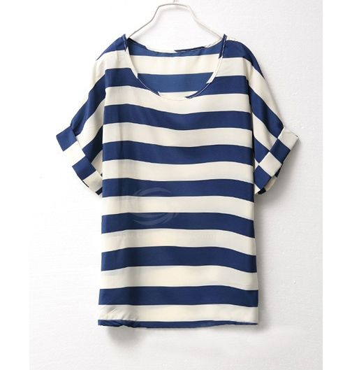 Plus Size Scoop Neck Striped Short Sleeve Chiffon Women's Summer T-ShirtT-Shirts | RoseGal.com