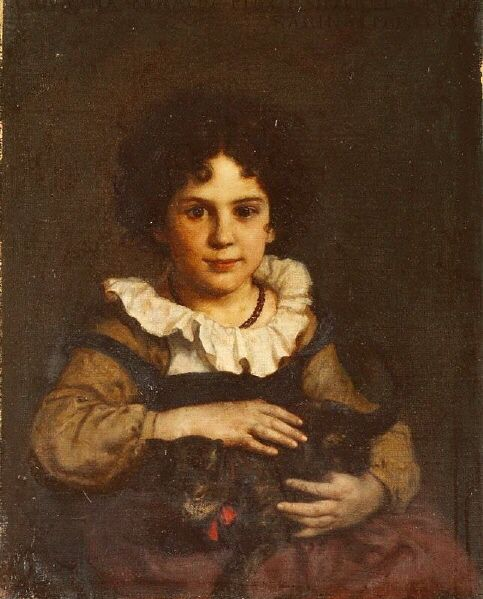 Ernst Stückelberg (Swiss, 1831–1903) - Girl with a Cat in Her Arms, 1862 - Oil on canvas - © Kunstmuseum Basel