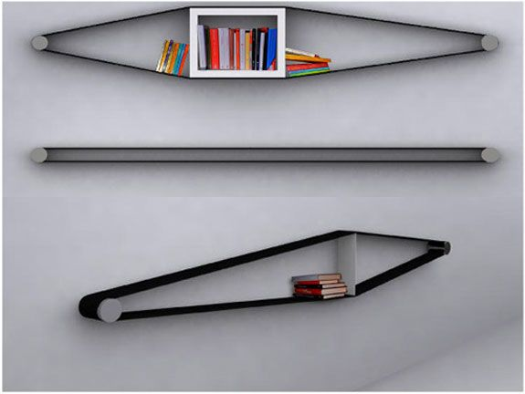 Elastic Bookshelves... Space saving, efficient, AND they look cool?! I gotta do this!