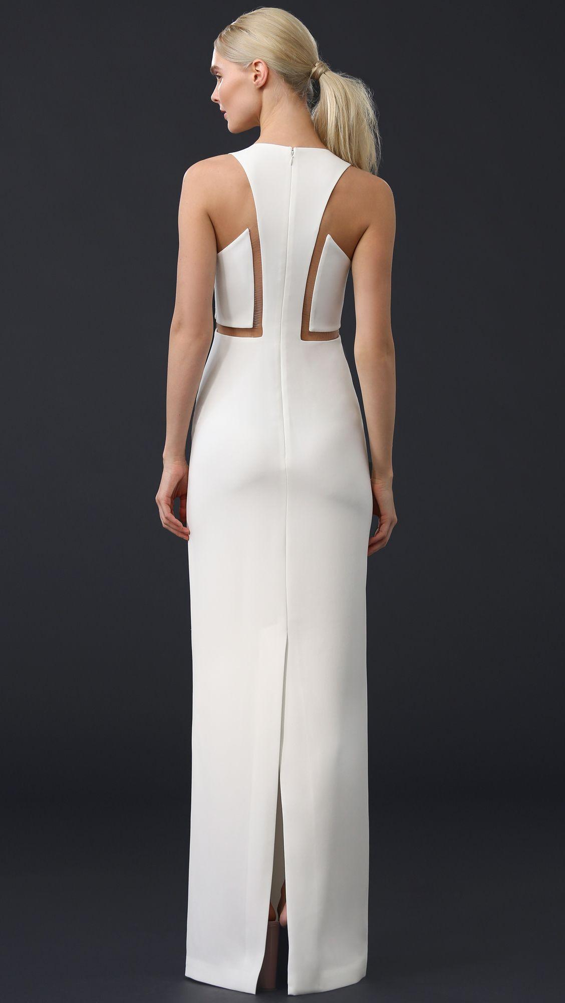 Alexander Wang White V Neck Gown With Fishing Line Detail Fashion Dresses Fashion Futuristic Fashion