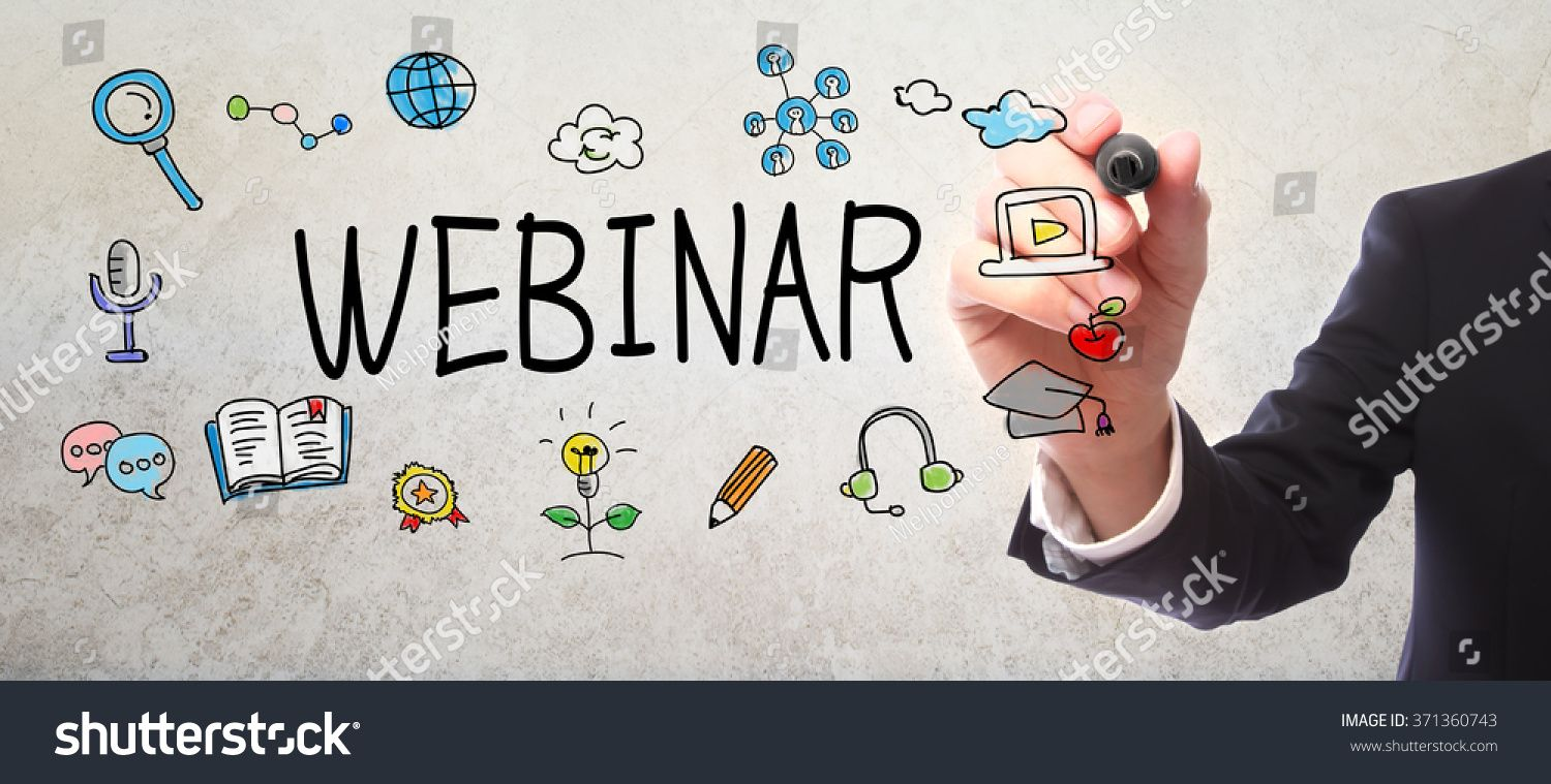 Businessman drawing Webinar concept with a marker Ad ,