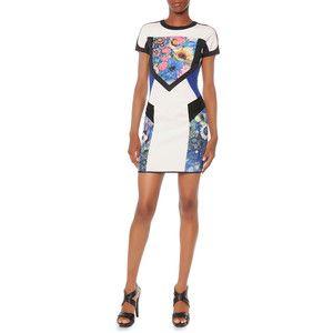 Just Cavalli Cap-Sleeve Colorblock Scuba Sheath Dress
