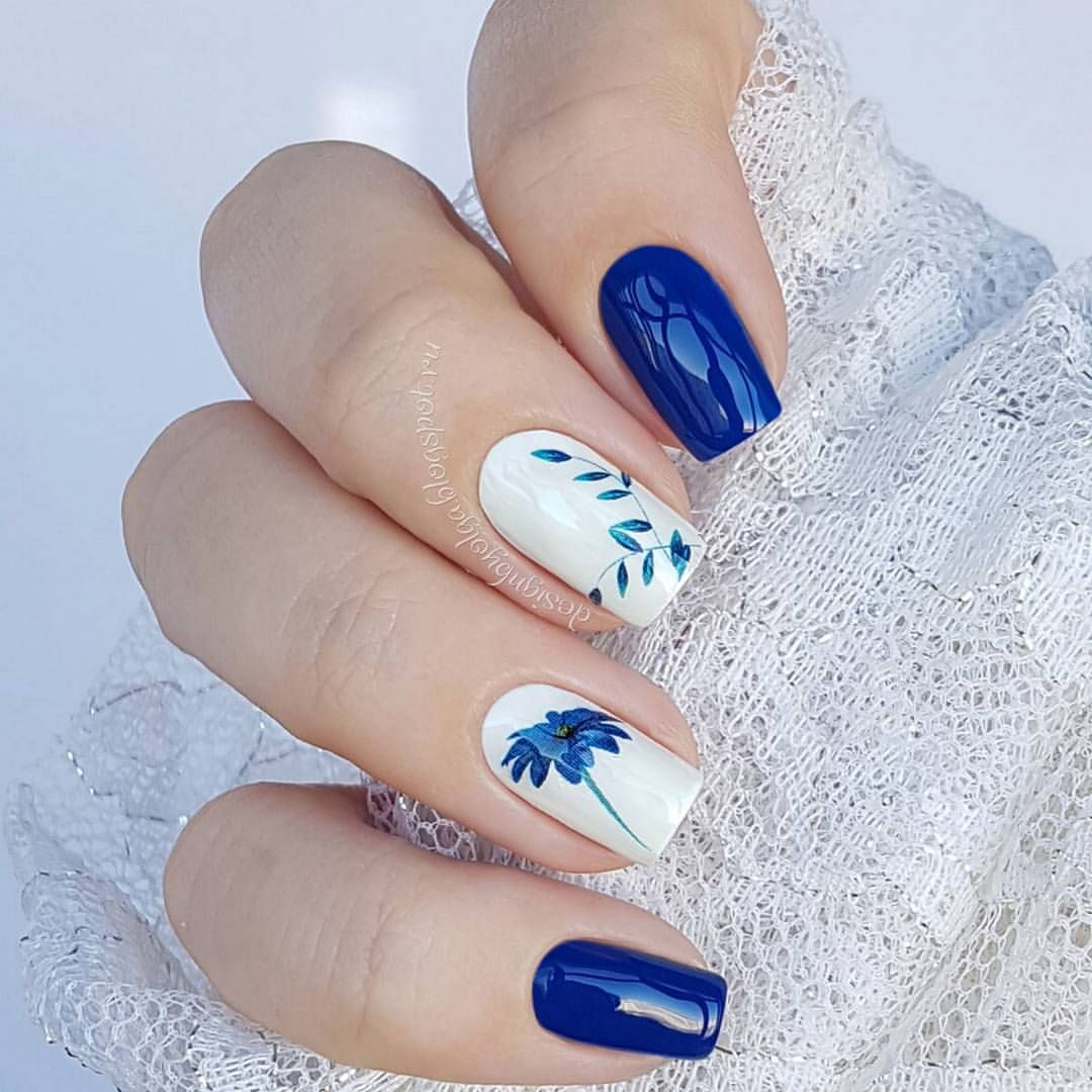 Beautiful Simple Nail Art With Solid Royal Blue Nails 2 White Middle Finger Accent Flower Water Slide Decals