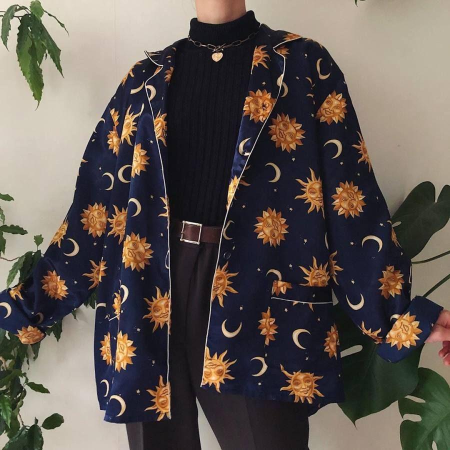VintagePrinted color Long Sleeve shirt jacket